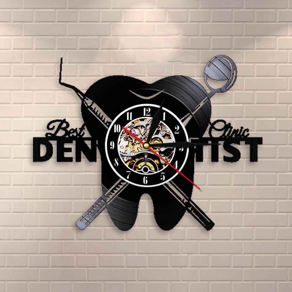 Dentist Equipment Dental Office Teeth Wall Sign Decorative Clock Orthodontist Vinyl Record Wall Clock Nurse Appreciation Gift
