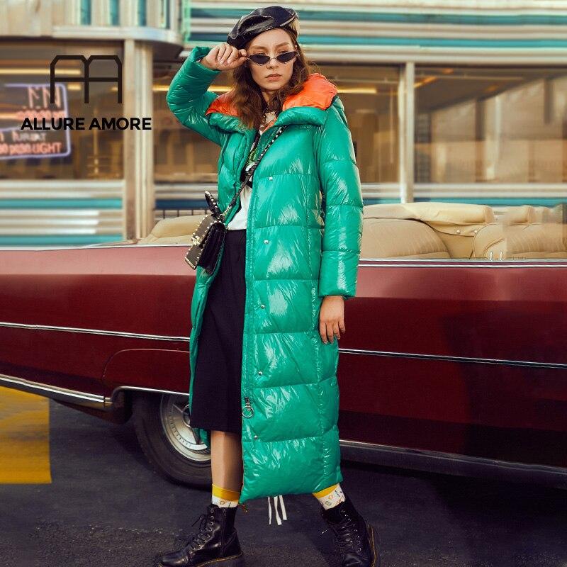 AllureAmore 2019 New Winter Women High Quality White Duck Down Hoodies Jackets Fashion Ladies Jackets