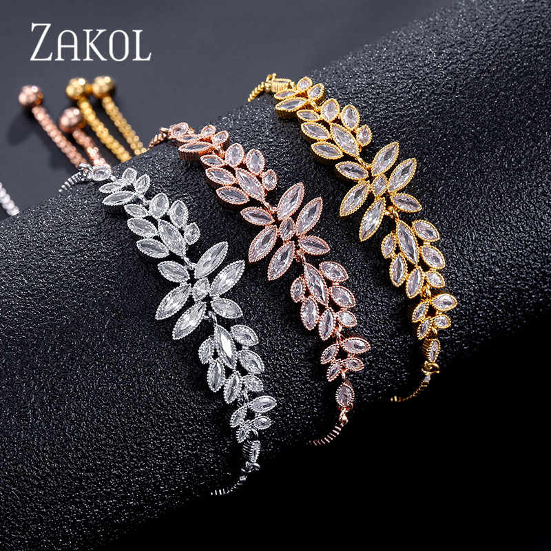 ZAKOL מותג יוקרה פרח עיצוב מעוקב Zirconia קריסטל זירקון מתכוונן שרוך צמידים לנשים מתנות תכשיטי FSBP2096