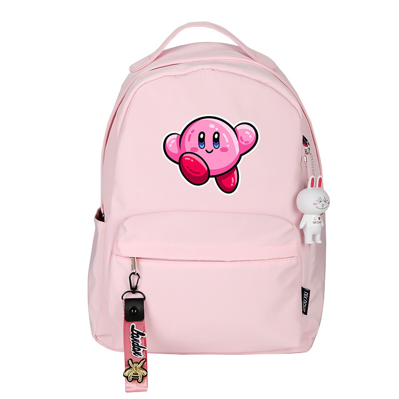 Kirby Women Cute Back Pack Kawaii Bookbag Pink Shoulder Bags Girls School Bags Nylon Waterproof Travel Bagpack Anime Rugzak