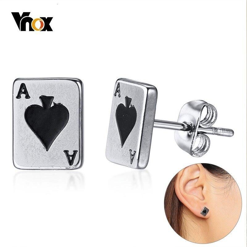 Vnox Lucky Spades A Poker Stud Earrings For Women Men Stainless Steel Unisex Brincos