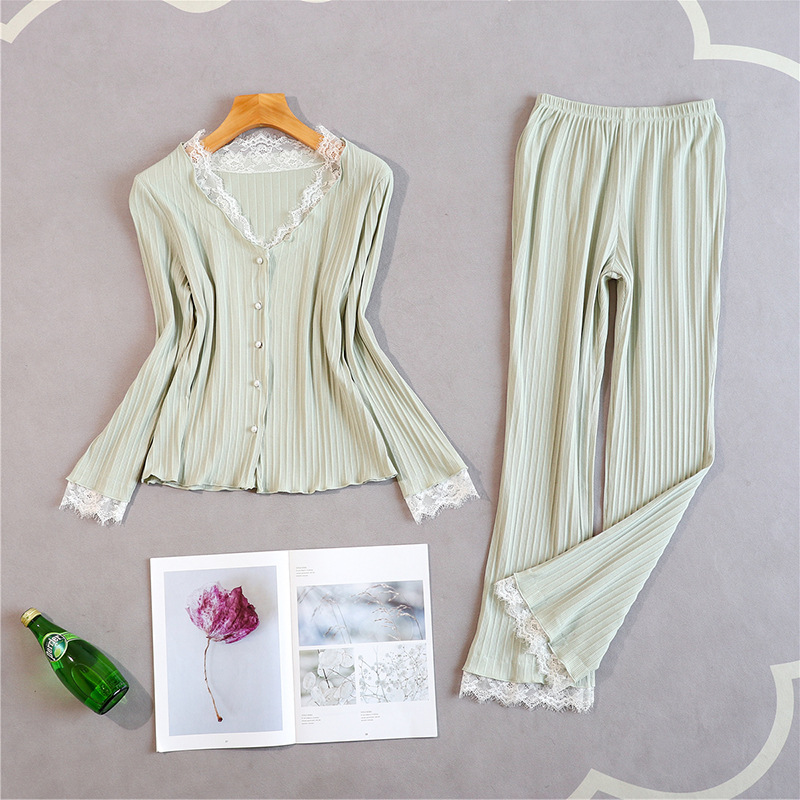 Women New Pajamas Suit Soft 2PCS Shirt&Pants Lace Patchwork Sleepwear V-neck Nighwear Cotton Sleep Set Casual Home Clothing