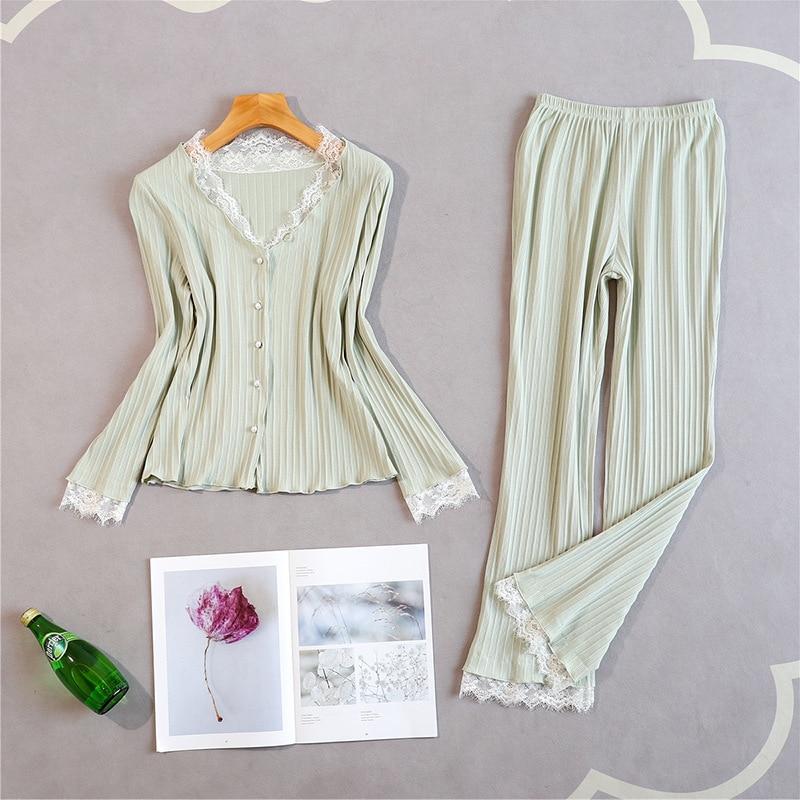 Women New Pajamas Suit Soft 2PCS Shirt&Pants Lace Patchwork Sleepwear V-neck Nighwear Cotton Sleep Set Casual Home Clothing
