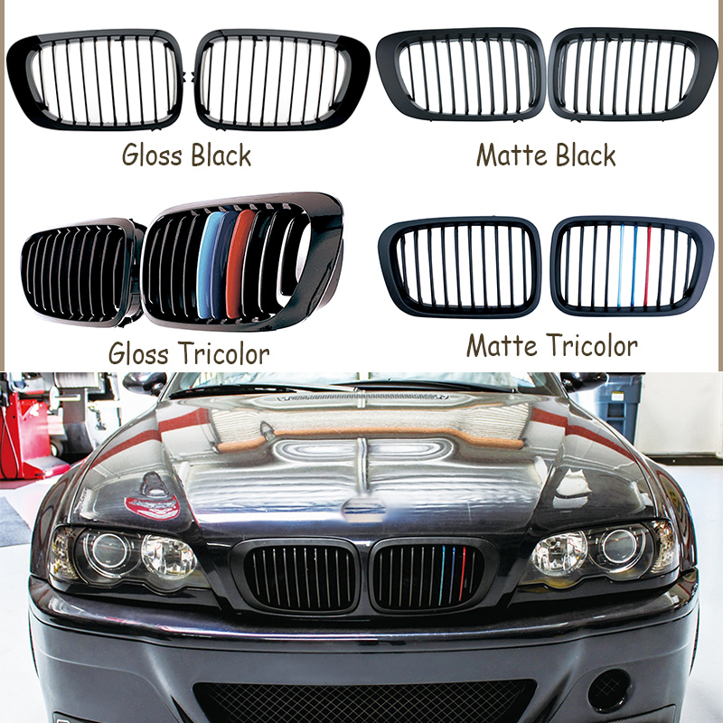 1set Front Bumper Racing Grills Kidney Grilles For BMW E46 Coupe Accessories M3 2doors 3 series 1998 2001 M Power Performance|Racing Grills| |  - title=