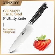XINZUO-cuchillo de utilidad de 5 pulgadas, acero inoxidable, alto en carbono, Alemania, 1,4116, utensilios de cocina con mango de ébano, accesorios de cocina
