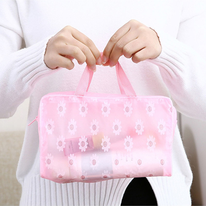Candy 5 Colors Make Up Organizer Bag Toiletry Bathing Storage Bag Women Waterproof Transparent Floral PVC Travel Cosmetic Bags