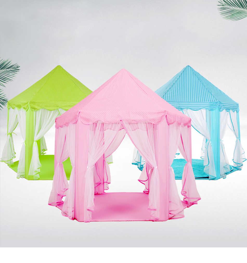 خيمة للأطفال على شكل قلعة الأميرة الوردية محمولة للأولاد والبنات خيمة للعب في الأماكن المغلقة وفي الهواء الطلق يمكن طيها على شكل حديقة لكرات للأطفال في حمام السباحة