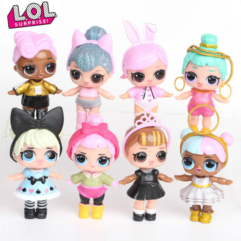 L.O.L. SURPRISE! 8pcs/set Lol Surprise Doll Ornaments Toy Confetti Glitter Series Action Figures Anime For Kids Toys For Girls