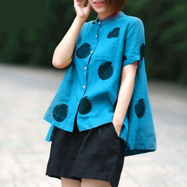 Women Fashion Elegant Casual Look Shirt Female Tops Cute Polka Dot Print Weekend Blouse Summer Single Breasted Shirt and Blouse 2
