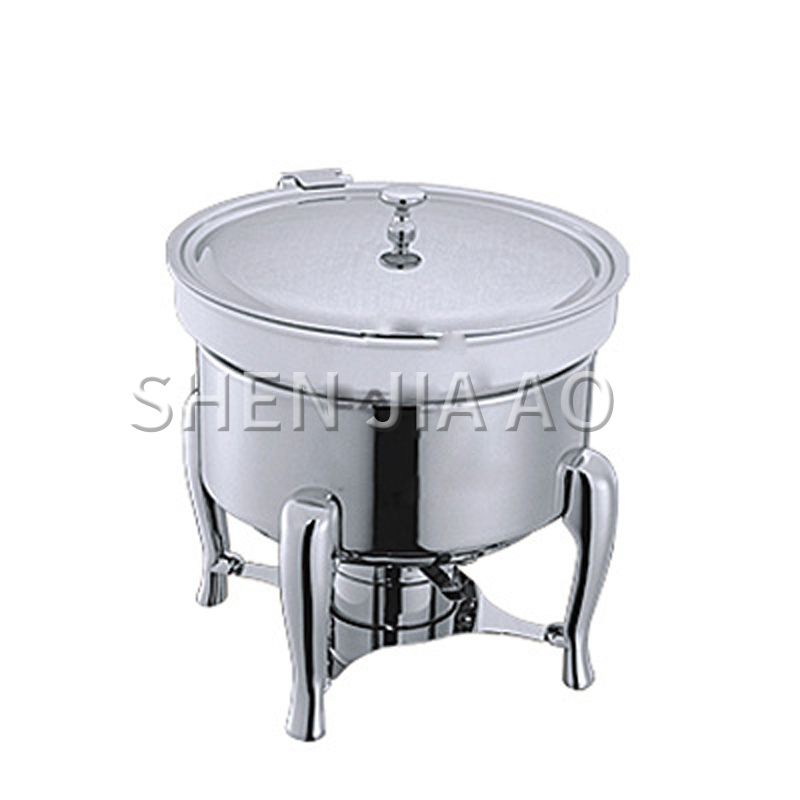 6L Stainless Steel Round Sauce Pot Commercial Round Soup Stove Soup Sauce Food Container For Canteen Restaurant Hotel 1PC