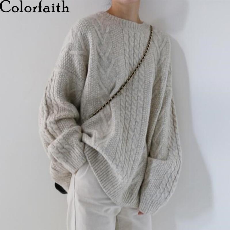 Colorfaith 2019 New Autumn Winter Women Sweater-pullovers Warm Minimalist Knitting Elegant Ladies Loose Oversize Tops SW8108A