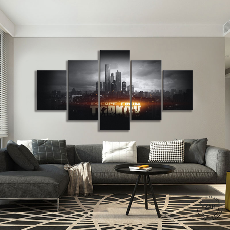 HD Game Poster Wall Picture Escape From Tarkov Video Games Art Black White Cityscape Paintings Wall Art Home Decor 1