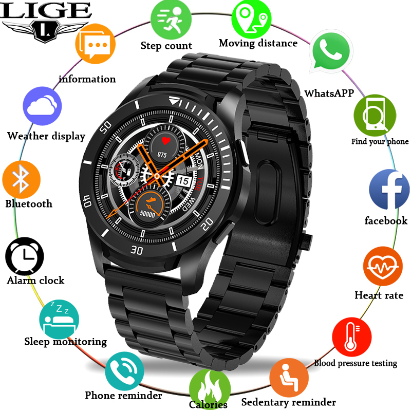 LIGE Luxury Large Dial Watch Men Watch LED Color Full Screen Touch Screen For Android ios Waterproof Sports Watch Women