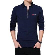 BROWON Autumn Brand T Shirt Men Long Sleeve Zipper Collar Print Casual Tshirt Cotton Slim Fit T shirt Plus Size Men Clothing