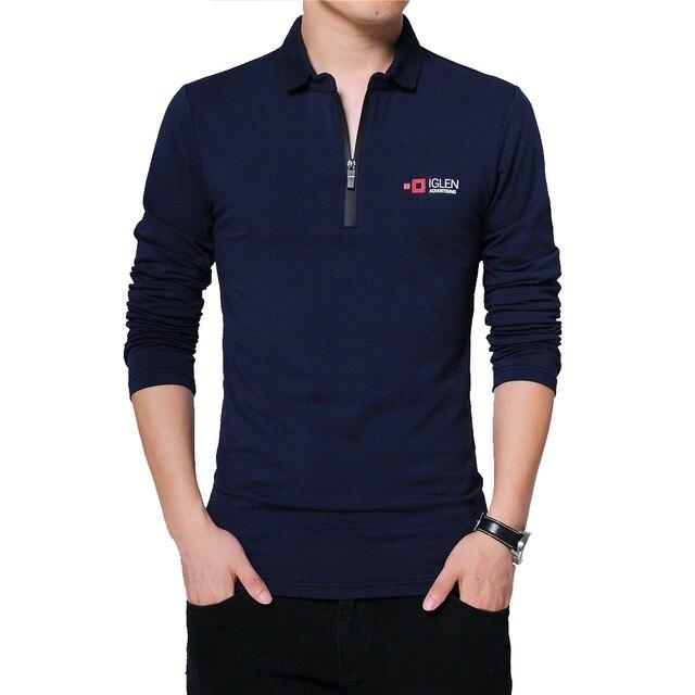 BROWON Herbst Marke T Shirt Männer Lange Sleeve Zipper Kragen Print Lässige T shirt Baumwolle Slim Fit T shirt Plus Größe Männer kleidung