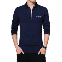 Browon Herfst Brand T shirt Mannen Lange Mouw Rits Kraag Print Casual T shirt Katoen Slim Fit T shirt Plus Size Mannen kleding