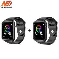 Drop Shipping 2 sztuk A1 zegarek Bluetooth inteligenty zegarek z krokomierzem z kamerą SIM smartwatch dla androida PK iwo 8 DZ09 zegarki