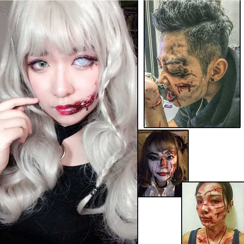 Dropshipping Best Hot Sale Halloween Stage Fancy Dress Fake Scar Wound Skin Wax Body Face Painting Makeup Light Skin SMJ