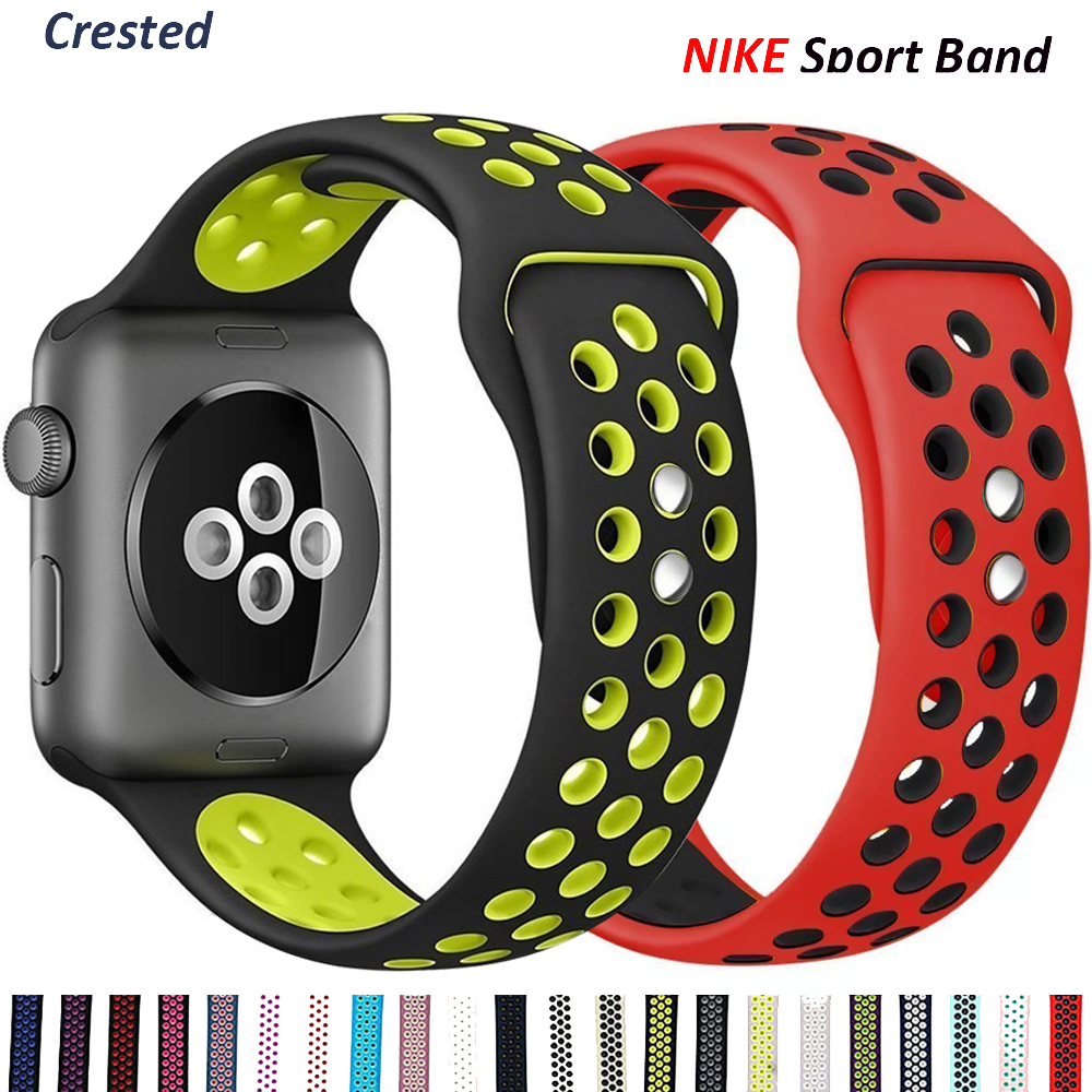 Silicone Strap For Apple Watch band 44mm 40mm 38mm 42mm Breathable wrist belt Sport bracelet iWatch serie 5 4 3 se 6 42/44 mm(China)