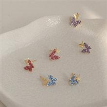 Женские серьги гвоздики с бабочками mengjiqiao новые корейские