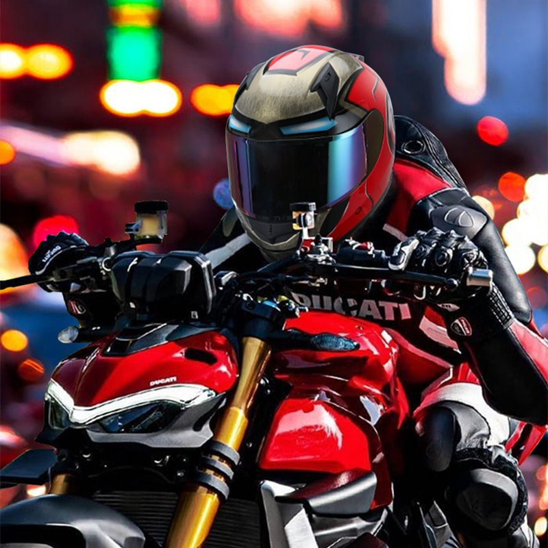 Iron Man Style Helmet Motorcycle Full Face Four season High Anti collision Motocross Racing Helmets Moto Casco Kask Casque X310|Helmets| |  - title=