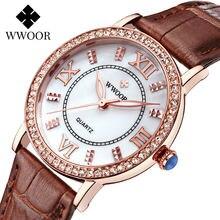 Wwoor/высококачественные кожаные часы для женщин; Модные женские