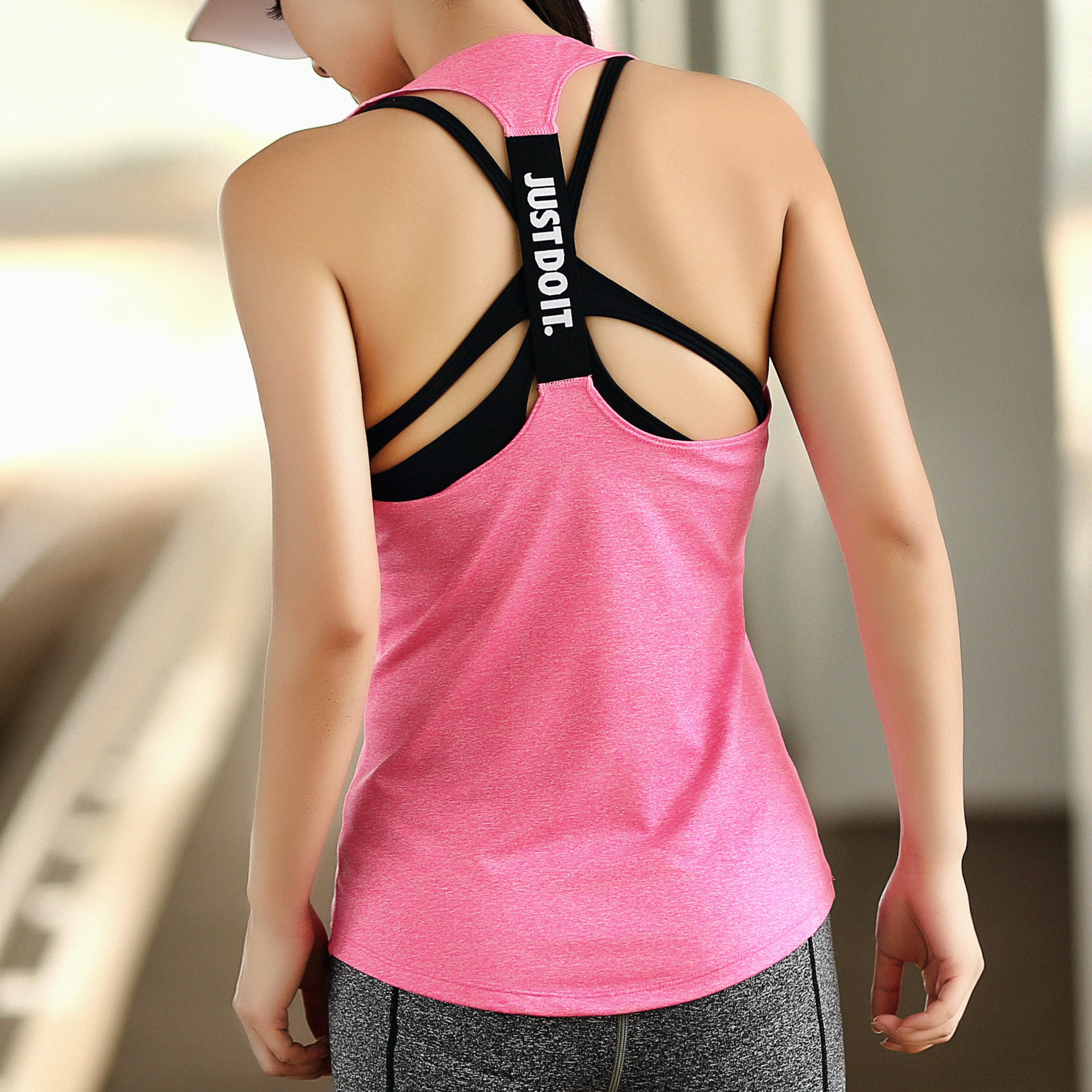 Yoga Vest Girl Elastic And Quick-drying Sweat-absorbent Small Blouse Was Thin Sports Running Fitness Clothes Aerobics T-shirt
