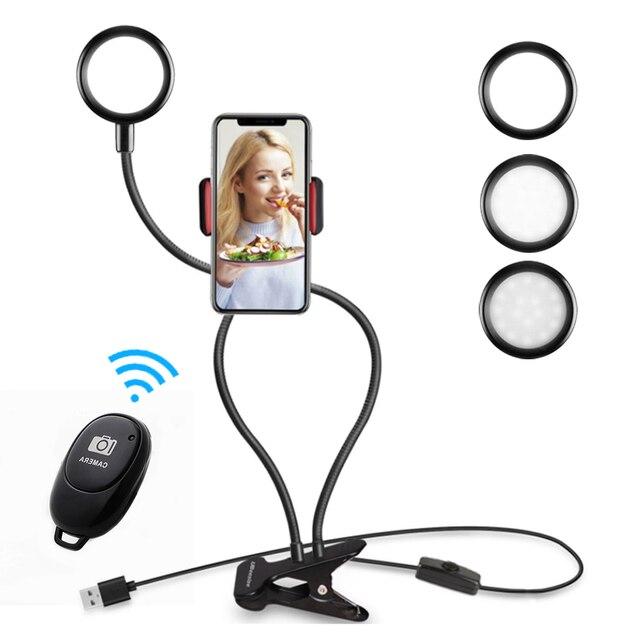 Universal Selfie Led Ring Light With Long Arm Mobile Phone Holder Desk Clip Usb Ring Lamp For Youtube Tiktok Live Stream Office