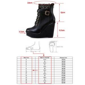 Image 5 - ハイヒールアンクルブーツ女性のためプラットフォームウェッジブーツ女性の秋の冬ショートブーツの靴黒、白bottinesファム