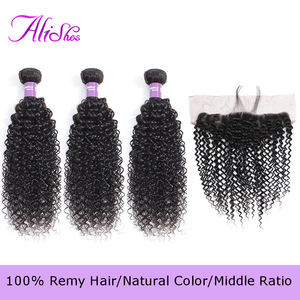 Alishes malaisien cheveux bouclés 3 paquets avec dentelle frontale fermeture oreille à oreille partie libre dentelle fermeture 4 PCS/LOT Remy cheveux humains