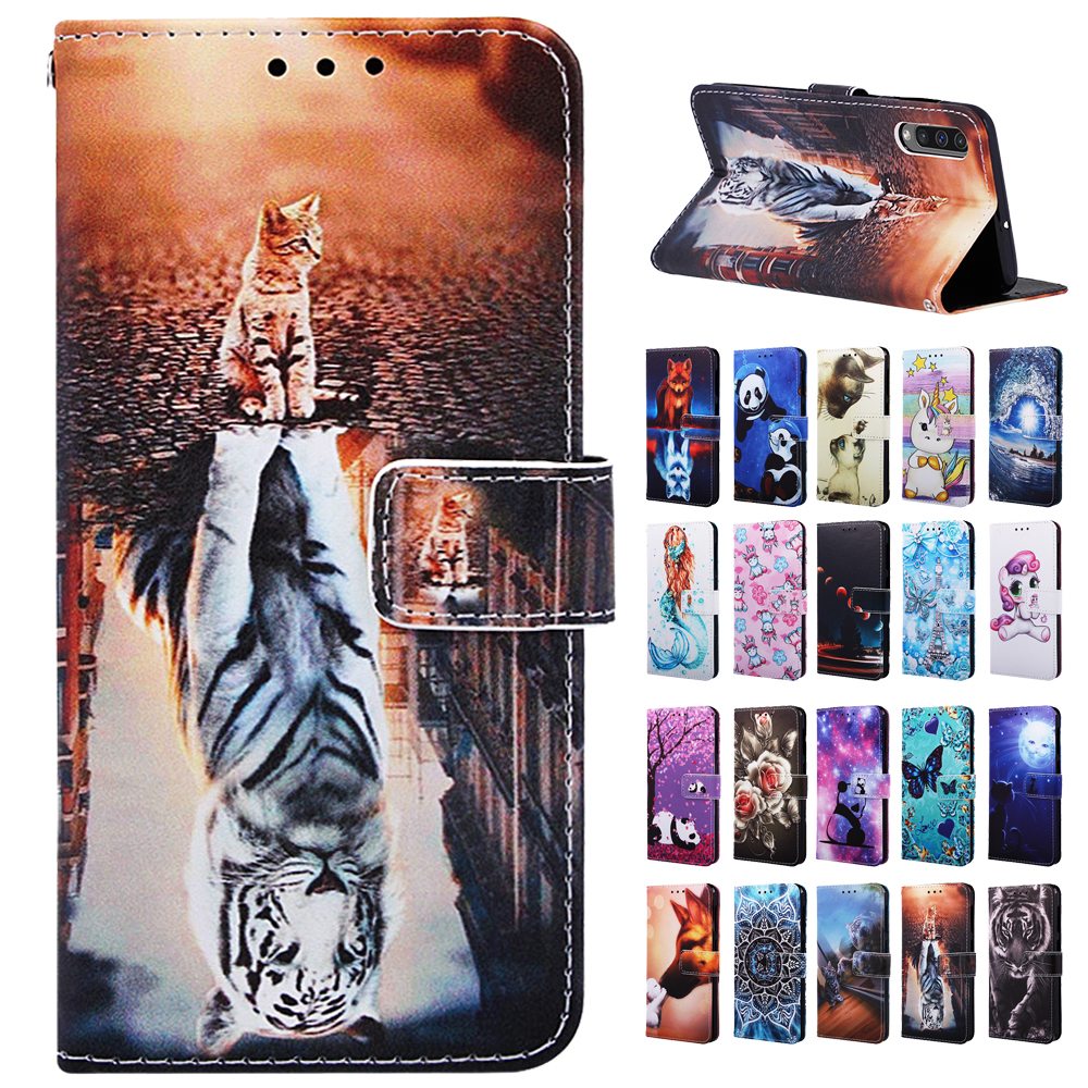 Leather <font><b>Flip</b></font> <font><b>Case</b></font> for <font><b>Samsung</b></font> <font><b>Galaxy</b></font> A10 A20 A30 A40 A50 <font><b>A70</b></font> A80 A20e A10s A30s A50s A20s Phone <font><b>Case</b></font> Coque Painted Wallet Cover image
