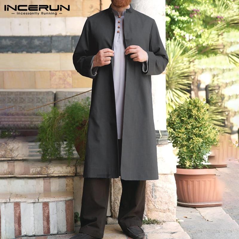 INCERUN Vintage Men Long Style Shirt Casual Stand Collar 2020 Solid Color Muslim Islamic Kaftan Retro Long Sleeve Men Shirts 5XL