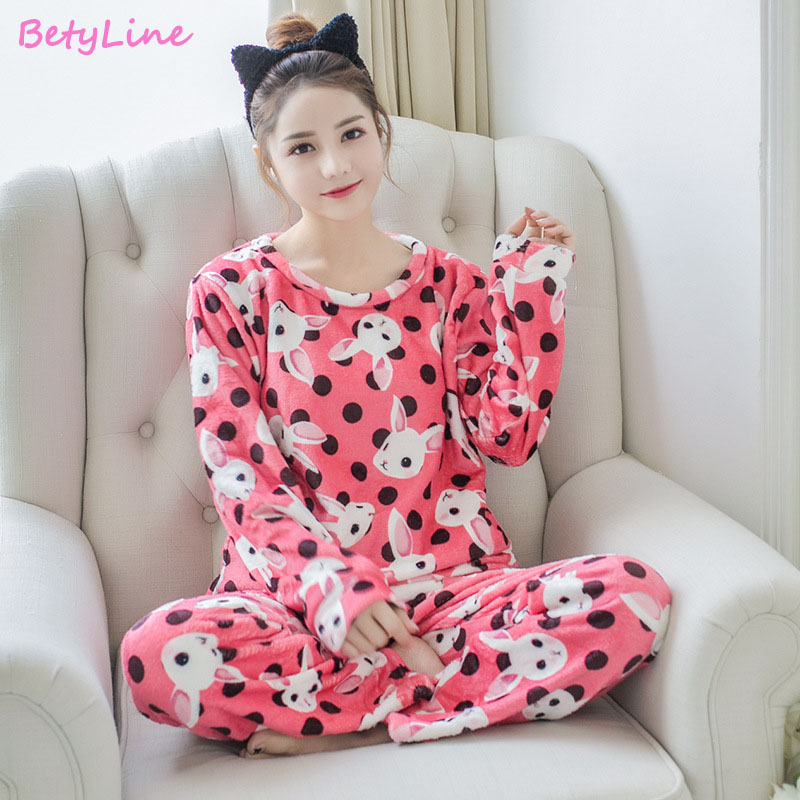 Betyline 2019 New Winter Pajamas For Women Sleepwear Warm Flannel Long Sleeves Pajamas Cute Animal Homewear Thick Homewear 124