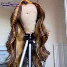 Destaque do laço frontal perucas 13x6 frente do laço perucas de cabelo humano 180% brasileiro remy ondulado cabelo humano preplucked destaque perucas do laço