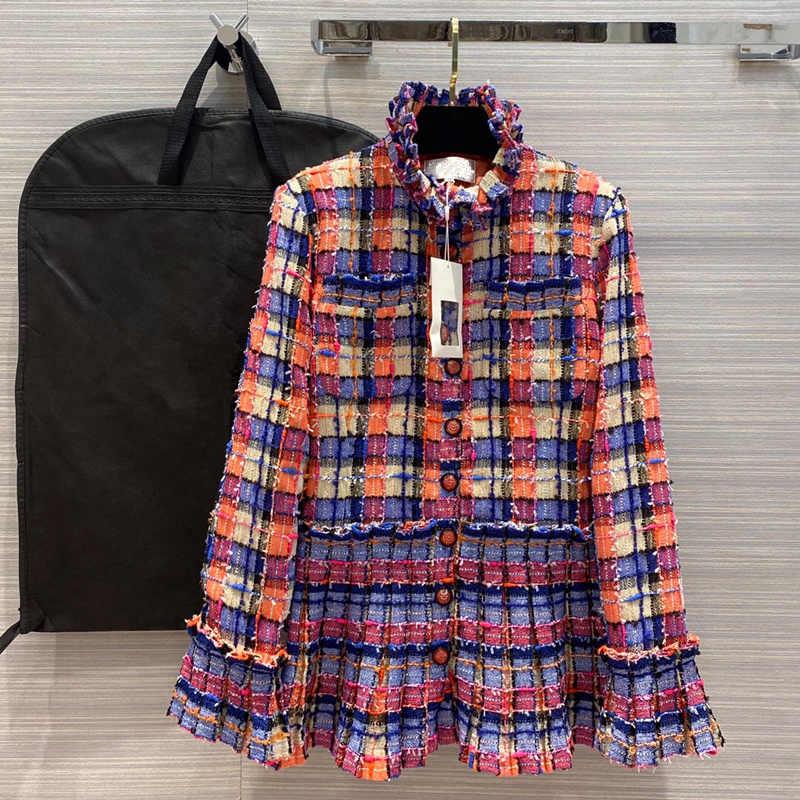 ยุโรปและอเมริกาเสื้อผ้าผู้หญิง2020ฤดูร้อนสไตล์ใหม่แขนยาวStandneck Rainbowลายสก๊อตแฟชั่นTweed Coat