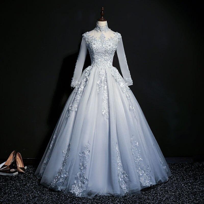 Long Sleeve Quinceanera Dresses Lace Girls Beaded Masquerade Sweet 16 Dresses Ball Gowns Vestidos De 15 Anos