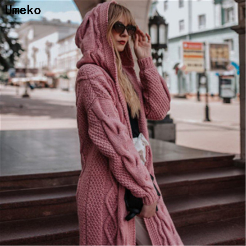 US $20.09 40% OFF|Umeko 6 Colors Women Knitted Cardigan Winter Thick Warm Hooded Long Cardigan Female Long Sleeve Vintage Sweater Outwear