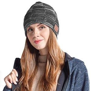 Image 2 - Moda música malha fone de ouvido chapéu chamada música escuta torção cheque mais veludo inverno quente fone de ouvido chapéu