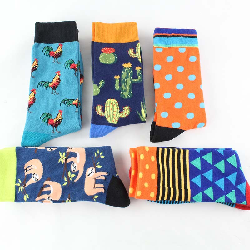 Freeshipping Crew Socks 2020 New Stripes Animal Pepper Rooster Cock Cactus Dog Cat Heart Fox Sloth Koala Wolf Penguin Dinosaur
