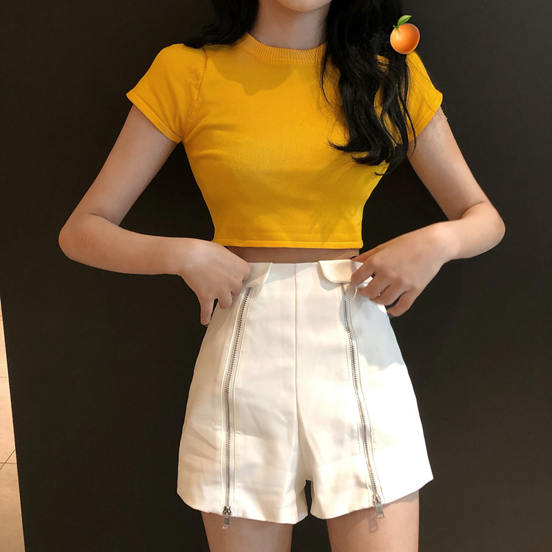 Playful France Non-mainstream Two-Piece Set Spring New Style Women's Fashion Short-sleeved Round Collar T-shirt Tops High-waiste