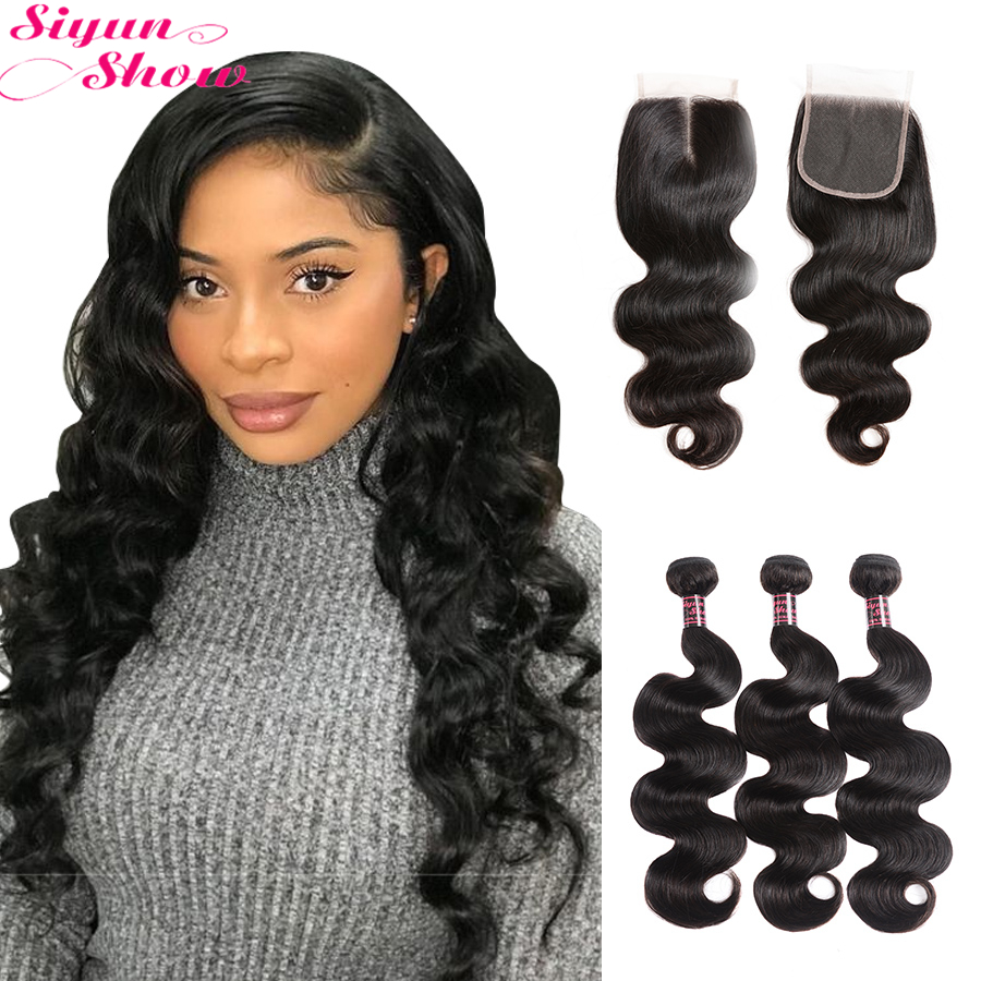 Siyun Show Brazilian Body Wave Bundles With Closure 30 inch Bundles Top <font><b>10A</b></font> <font><b>Grade</b></font> Remy Human <font><b>Hair</b></font> Bundles With Closure image