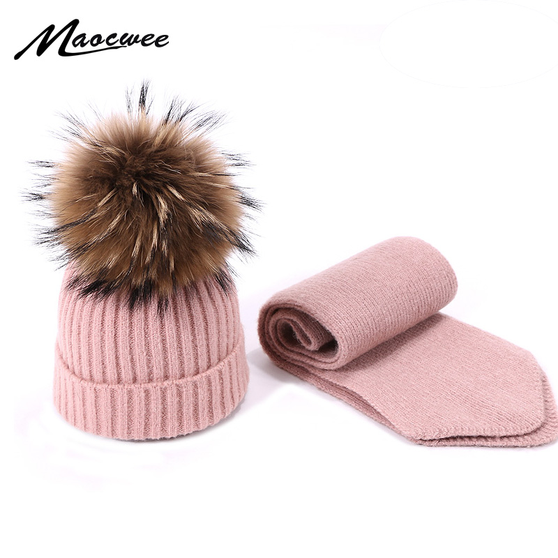 Winter Pom Pom Beanie Hat And Scarf Set For Children Warm Knitted Bobble Hat With Real Raccoon Fur Pompon Outdoor Hat Skullies