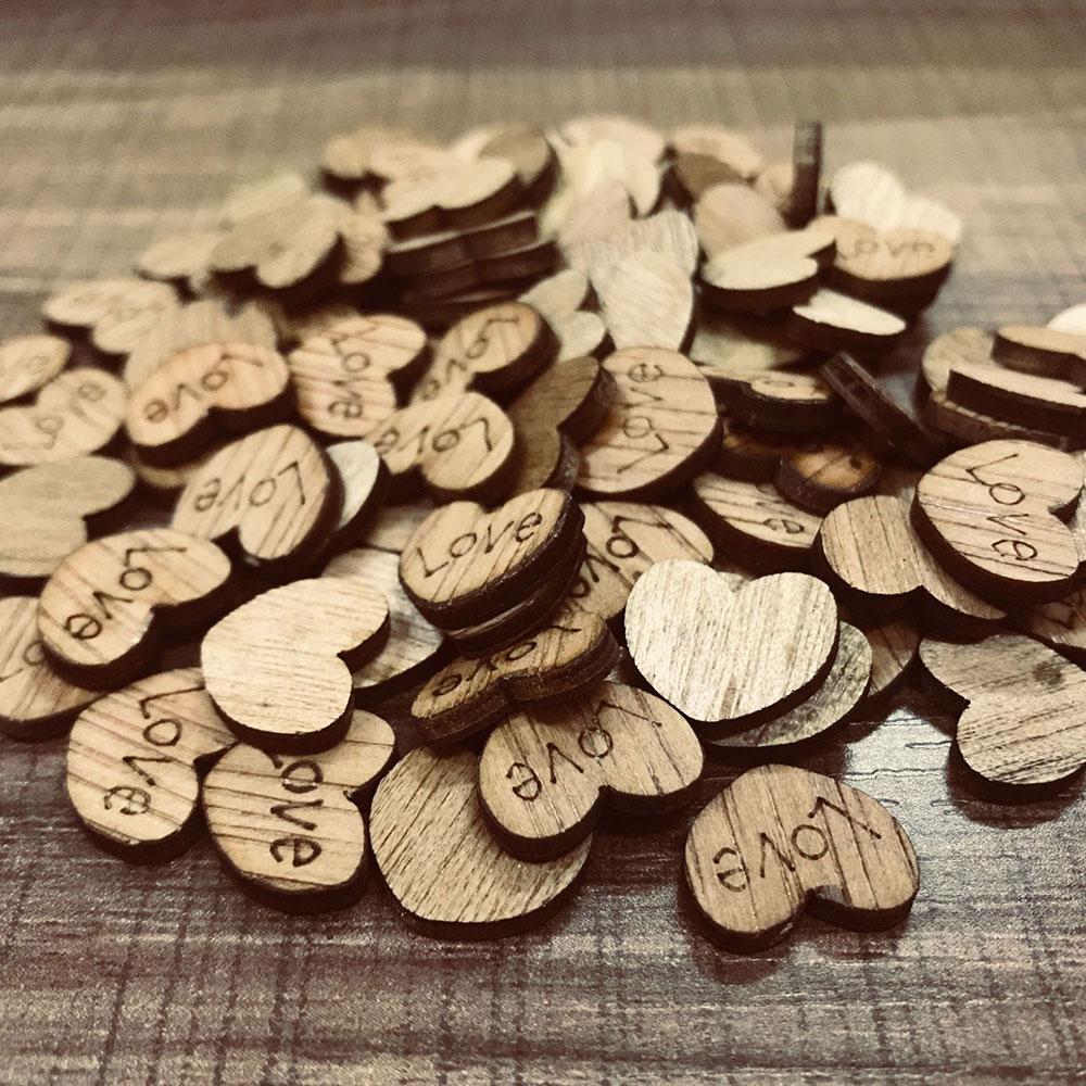 100Pcs Mini Wooden Love Heart Wedding Table Scatter DIY Craft Accessories Rustic Wedding Party DIY Decoration Favor Scrapbooking