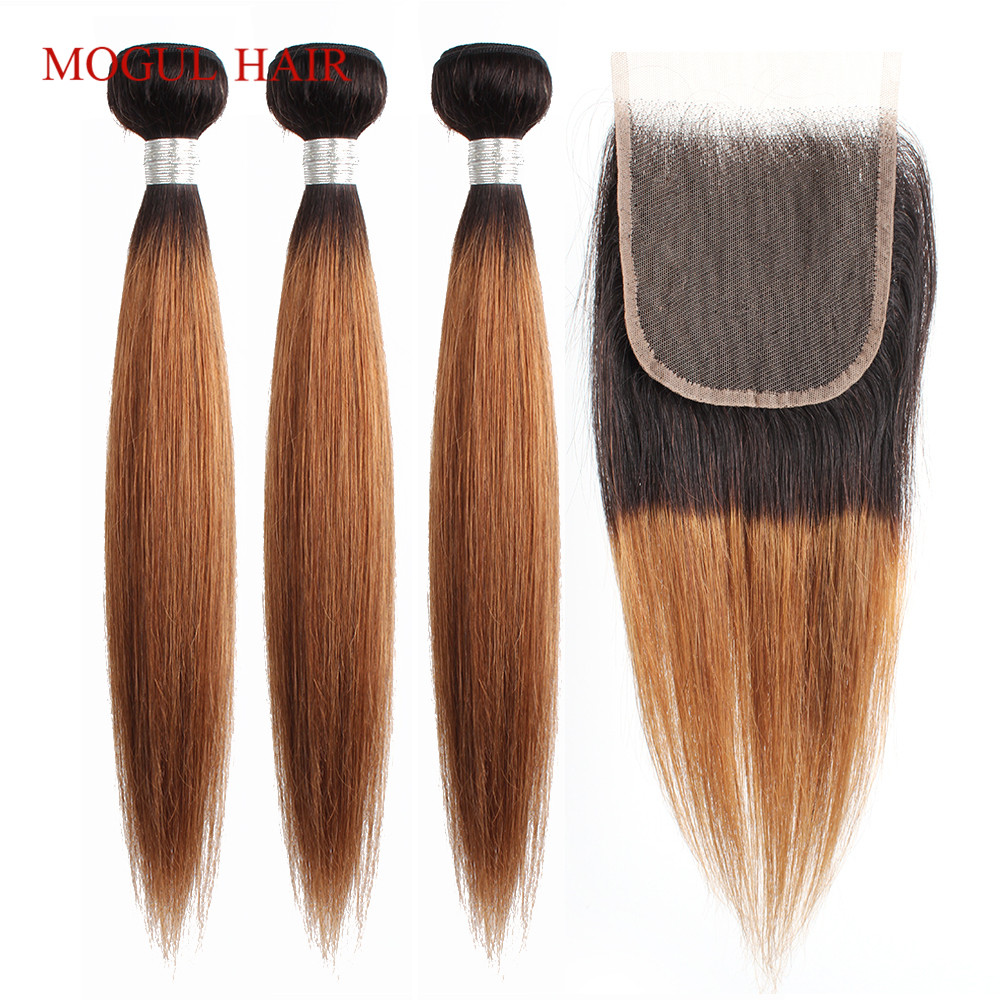 MOGUL HAIR T 1B 30 Ombre Bundles With Closure Ombre Auburn Brown Peruvian Straight Hair 3/4 Bundle Non Remy Human Hair Extension