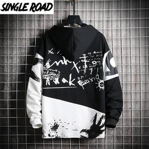 Image 1 - SingleRoad Mens Hoodies Men 2020 Oversized Patchwork Graffiti Harajuku Japanese Streetwear Hip Hop Black Sweatshirt Hoodie Men