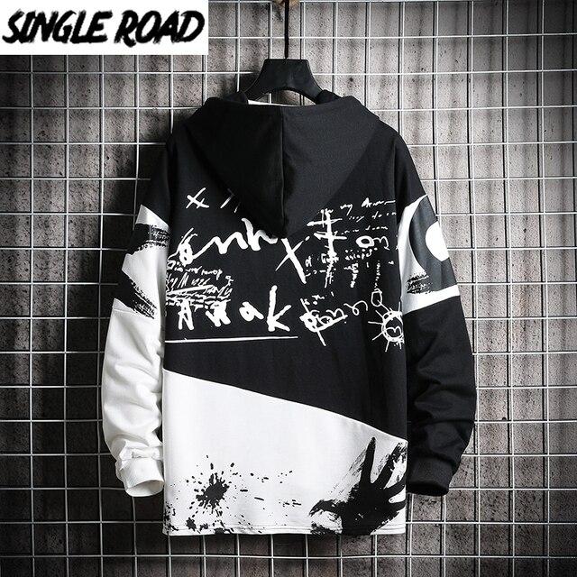 SingleRoad Mens Hoodies Men 2020 Oversized Patchwork Graffiti Harajuku Japanese Streetwear Hip Hop Black Sweatshirt Hoodie Men