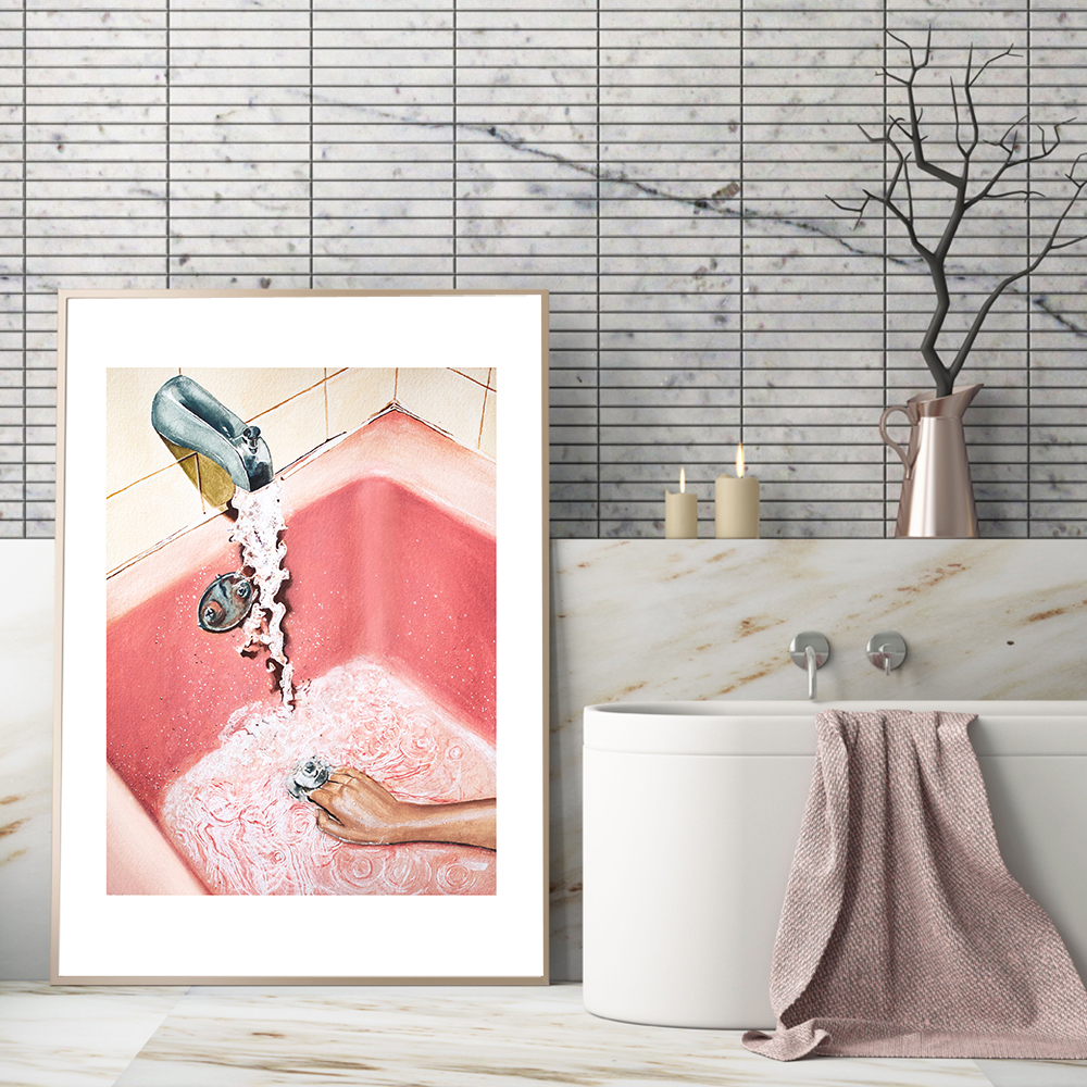 Modern Pink Sexy Girl Bathtub Wall Art Canvas Painting Nordic Posters And Prints Wall Pictures For Toilet Bathroom Pop Art Decor