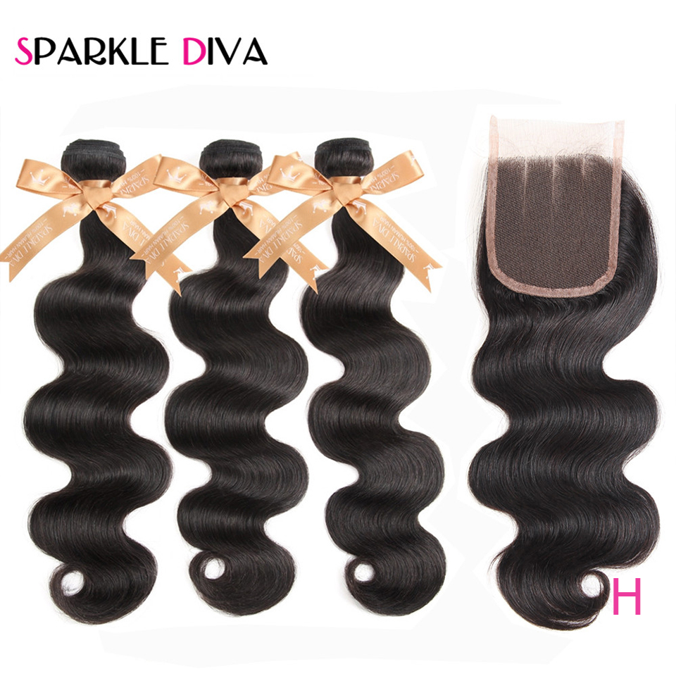 Body Wave Bundles With Lace Closure 4*4 Bleached Knots Brazilian Human Hair Bundles Non-Remy Human Hair 3 Bundles With Closure