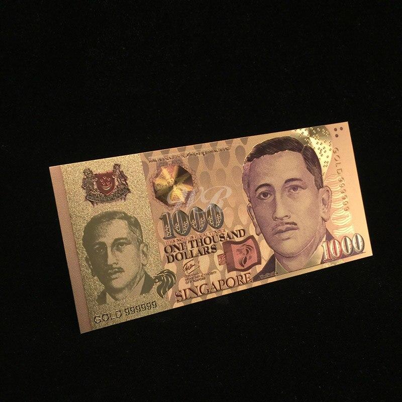 Держатель для банкнот WR из редкого золота, Сингапур 1000, бумажные деньги, Золотая фольга, Поддельные Банкноты, коллекционные украшения для ба...