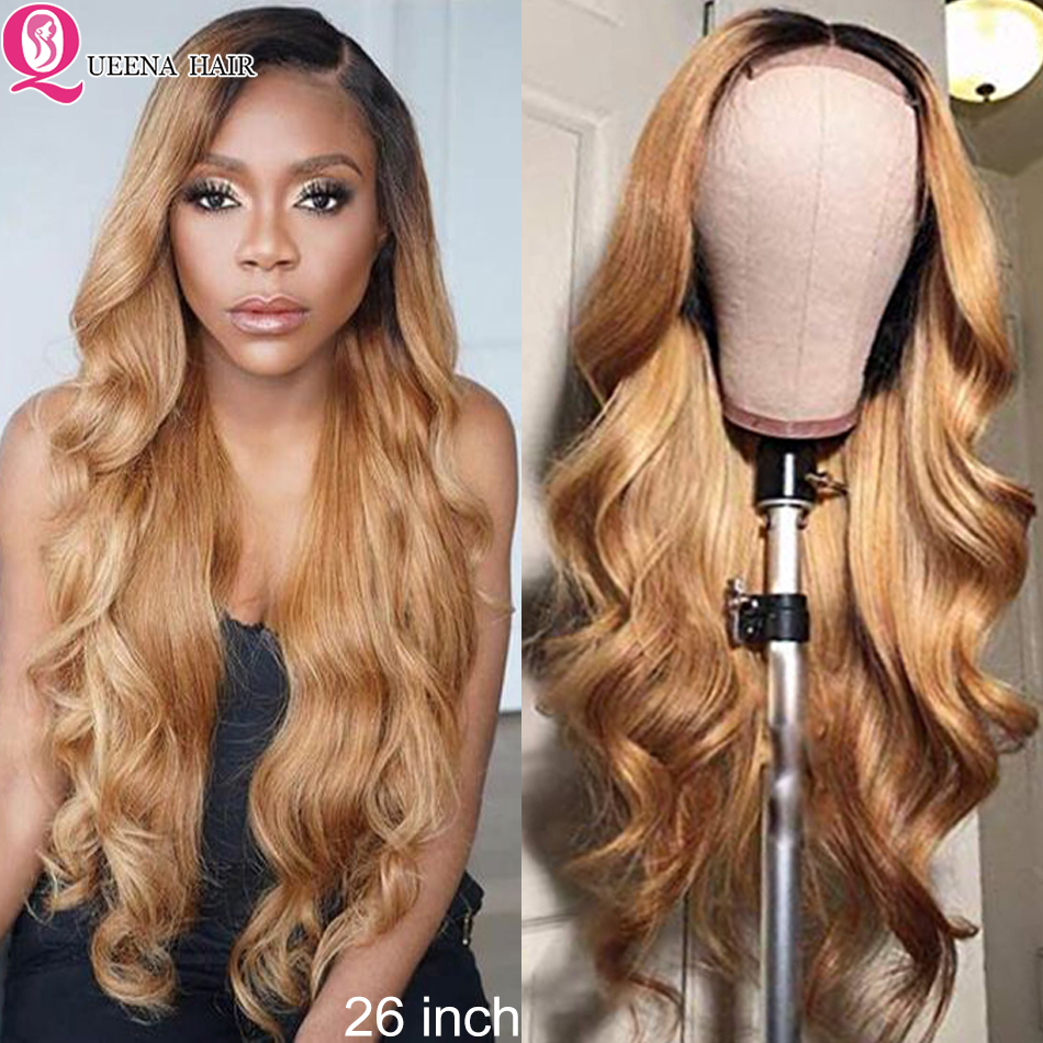 4x4 Ombre corps vague fermeture perruques pour les femmes noires 4x4 dentelle fermeture perruque Remy 1B/27 1B/27 1B/bourgogne brésilien perruque de cheveux humains 180%